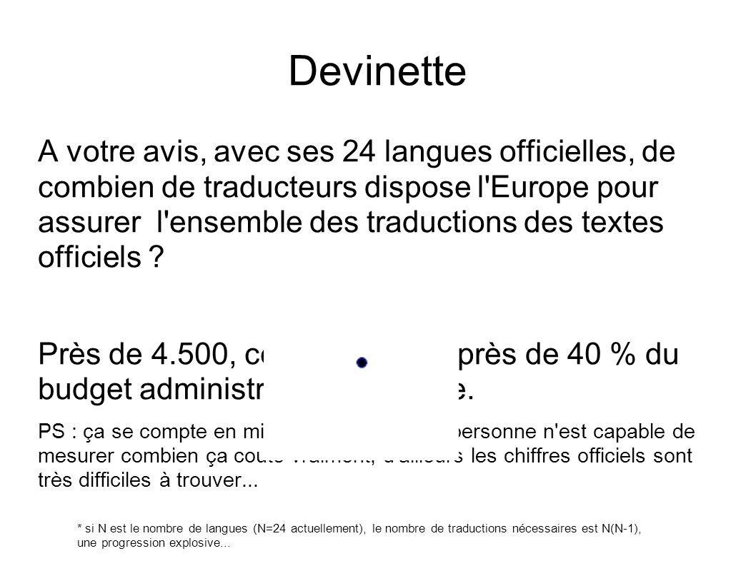 Devinette A votre avis, avec ses 24 langues officielles, de combien de traducteurs dispose l'Europe pour assurer l'ensemble des traductions des textes