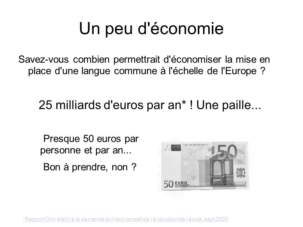 Un peu d'économie Savez-vous combien permettrait d'économiser la mise en place d'une langue commune à l'échelle de l'Europe ? 25 milliards d'euros par