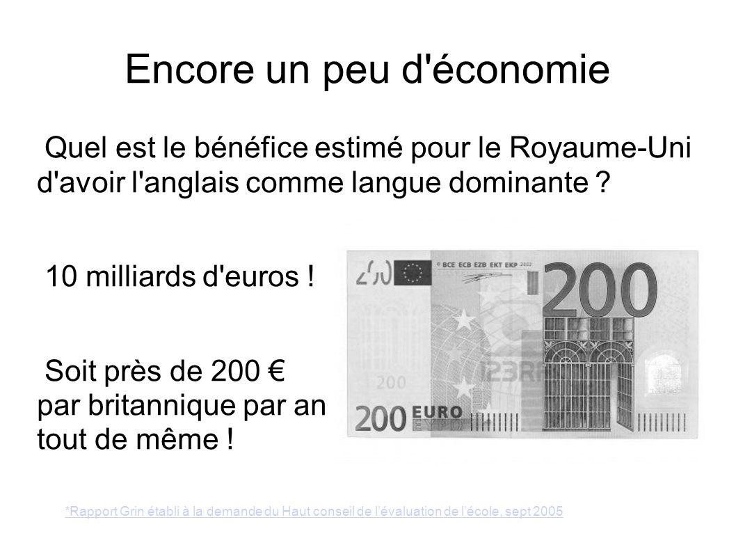 Encore un peu d'économie Quel est le bénéfice estimé pour le Royaume-Uni d'avoir l'anglais comme langue dominante ? 10 milliards d'euros ! Soit près d