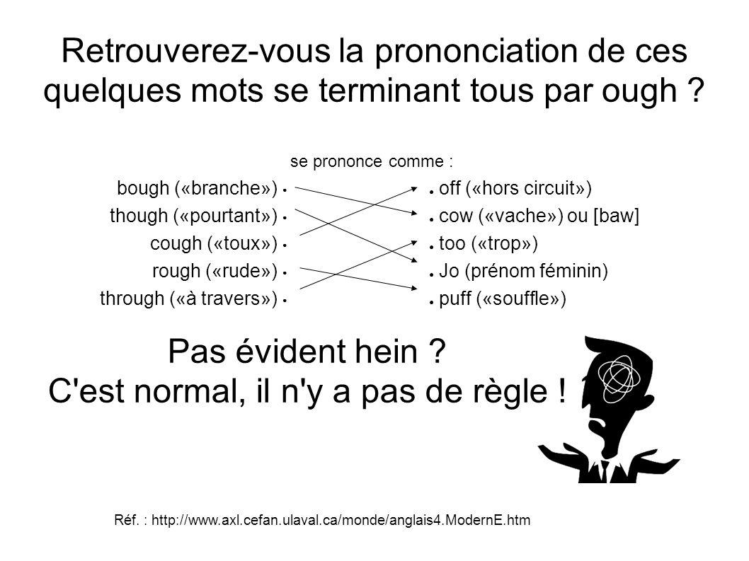 Retrouverez-vous la prononciation de ces quelques mots se terminant tous par ough ? se prononce comme : bough («branche») off («hors circuit») though