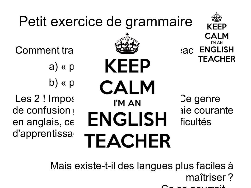 Petit exercice de grammaire Comment traduisez vous « English teacher » a) « professeur anglais » b) « professeur d'anglais » Les 2 ! Impossible de les