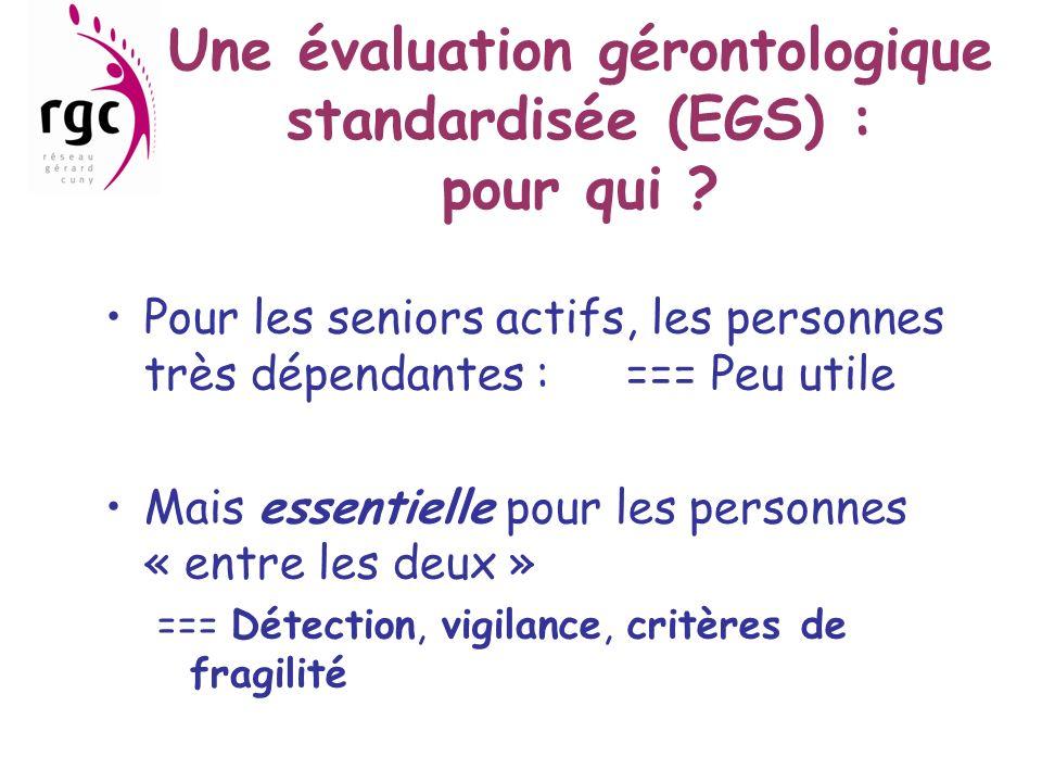 Une évaluation gérontologique standardisée (EGS) : pour qui ? Pour les seniors actifs, les personnes très dépendantes :=== Peu utile Mais essentielle