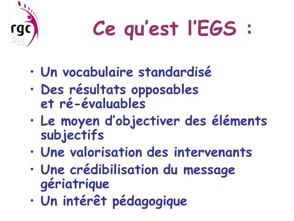 Ce quest lEGS : Un vocabulaire standardisé Des résultats opposables et ré-évaluables Le moyen dobjectiver des éléments subjectifs Une valorisation des