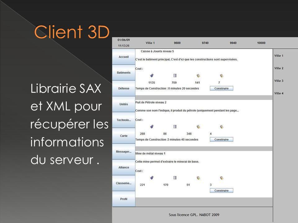 Librairie SAX et XML pour récupérer les informations du serveur.