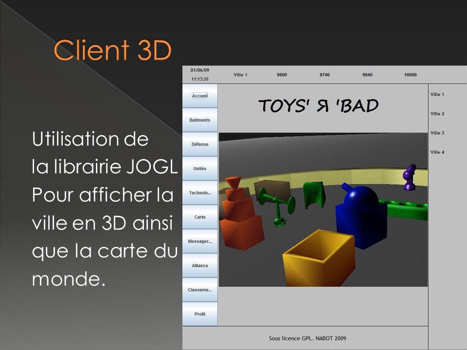 Utilisation de la librairie JOGL Pour afficher la ville en 3D ainsi que la carte du monde.