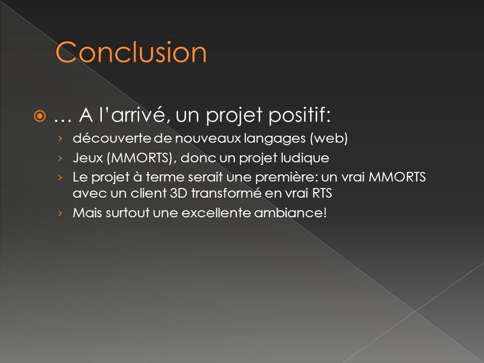 … A larrivé, un projet positif: découverte de nouveaux langages (web) Jeux (MMORTS), donc un projet ludique Le projet à terme serait une première: un vrai MMORTS avec un client 3D transformé en vrai RTS Mais surtout une excellente ambiance!