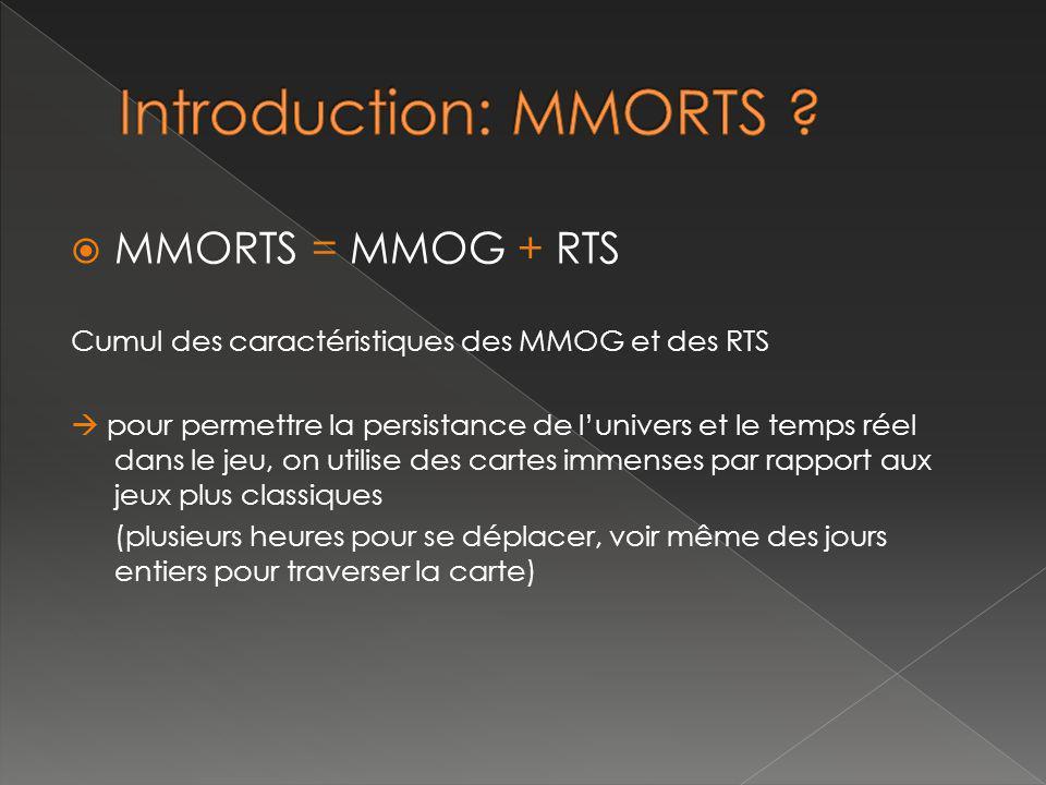 MMORTS = MMOG + RTS Cumul des caractéristiques des MMOG et des RTS pour permettre la persistance de lunivers et le temps réel dans le jeu, on utilise des cartes immenses par rapport aux jeux plus classiques (plusieurs heures pour se déplacer, voir même des jours entiers pour traverser la carte)