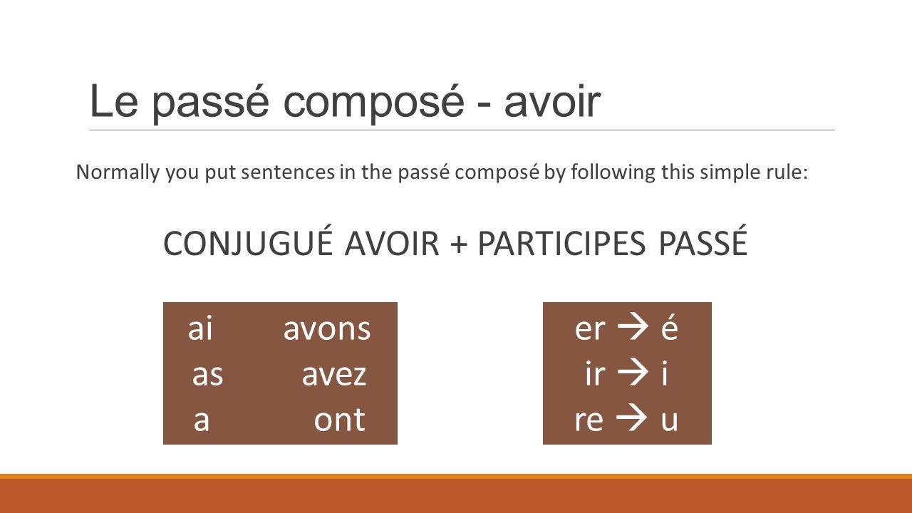 Le passé composé - avoir Normally you put sentences in the passé composé by following this simple rule: CONJUGUÉ AVOIR + PARTICIPES PASSÉ er é ir i re