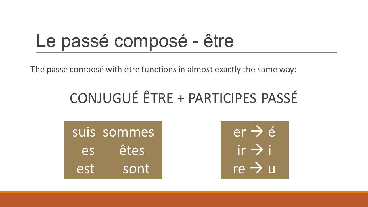 Le passé composé - être The passé composé with être functions in almost exactly the same way: CONJUGUÉ ÊTRE + PARTICIPES PASSÉ er é ir i re u suis som