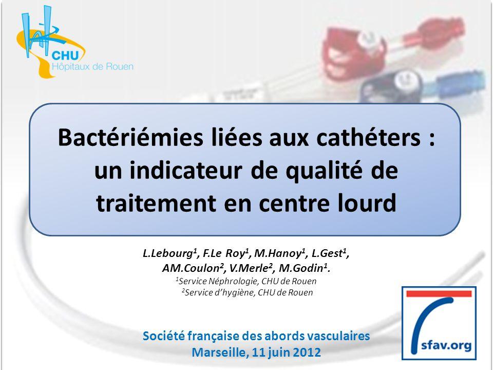 Bactériémies liées aux cathéters : un indicateur de qualité de traitement en centre lourd L.Lebourg 1, F.Le Roy 1, M.Hanoy 1, L.Gest 1, AM.Coulon 2, V.Merle 2, M.Godin 1.