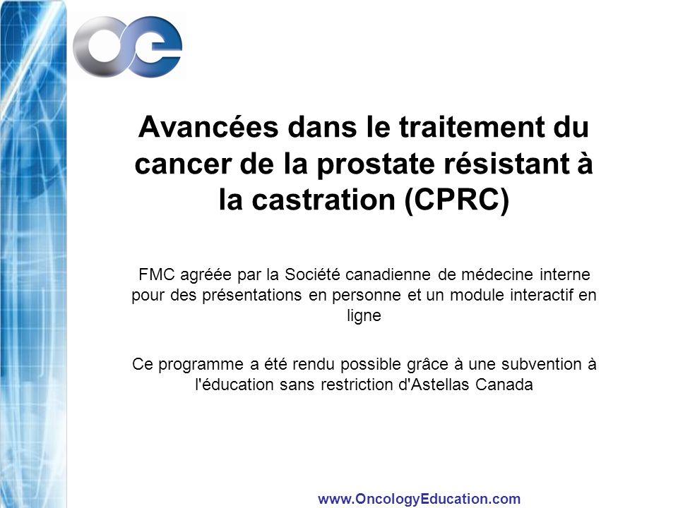 www.OncologyEducation.com Incidences du chlorure de radium 223 sur les CS et indice de performance (IP) de l ECoG Le délai avant la détérioration de l IP de l ECoG ( 2 points) était significativement prolongé par le Ra 223 (17,1 mois), p/r au placebo (16,8 mois) (RR = 0,62; p = 0,003; IC à 95 % de 0,46 à 0,85) Sartor et al.