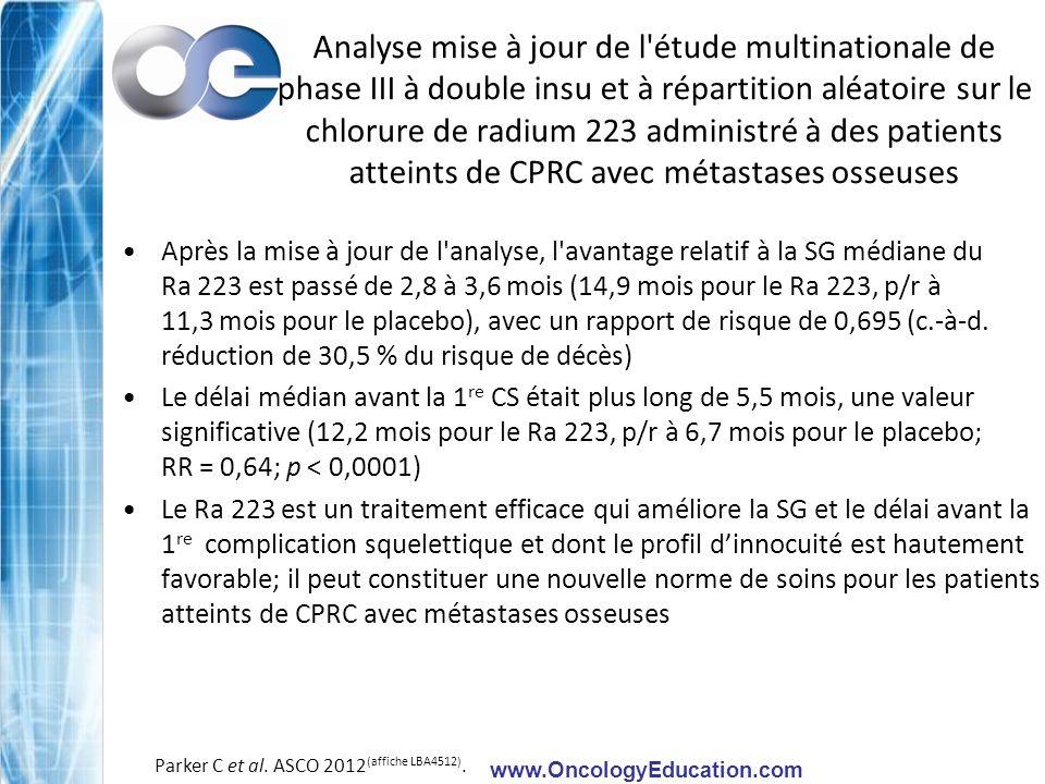 www.OncologyEducation.com Analyse mise à jour de l'étude multinationale de phase III à double insu et à répartition aléatoire sur le chlorure de radiu