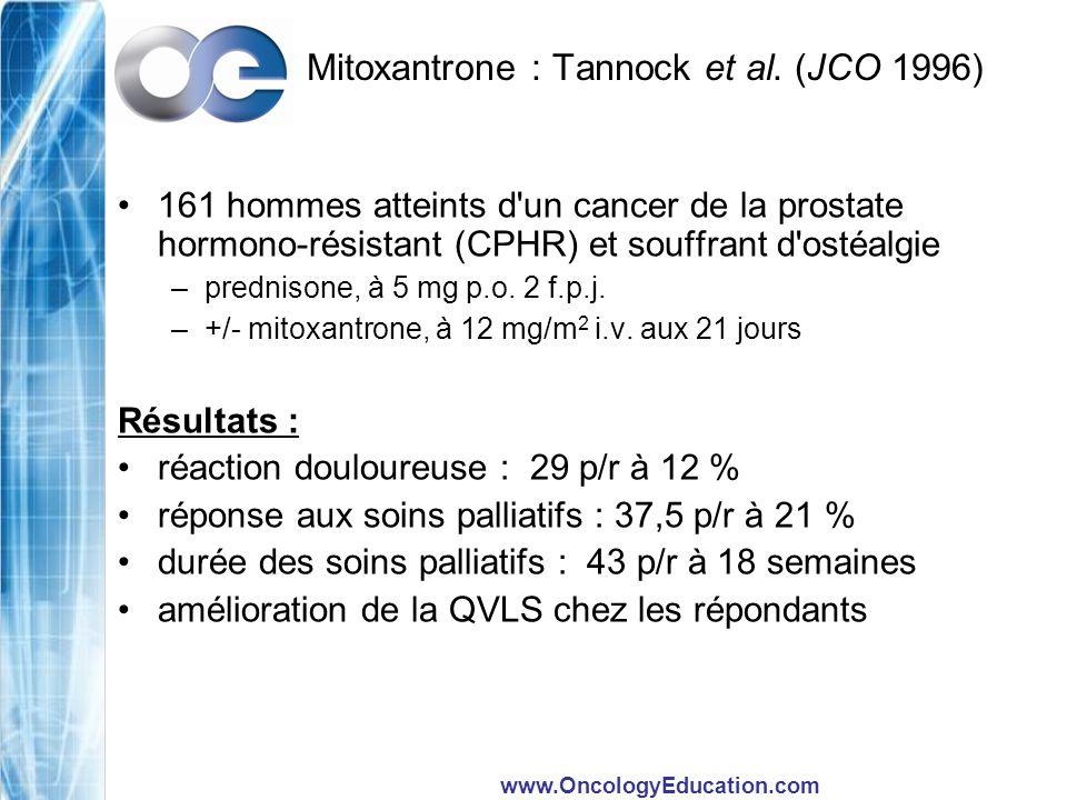 www.OncologyEducation.com Mitoxantrone : Tannock et al. (JCO 1996) 161 hommes atteints d'un cancer de la prostate hormono-résistant (CPHR) et souffran