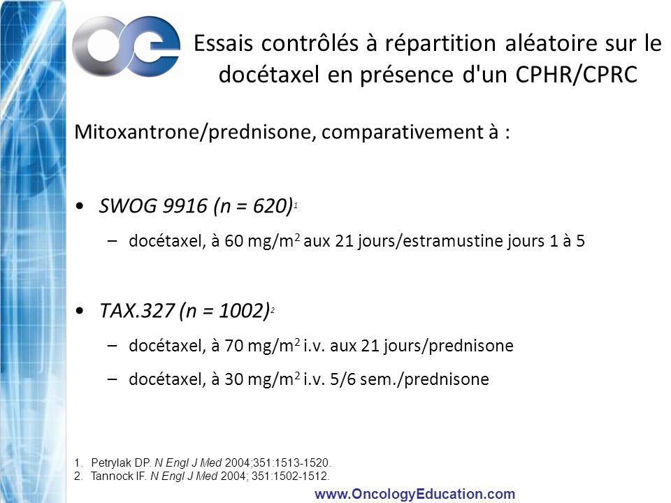 www.OncologyEducation.com Essais contrôlés à répartition aléatoire sur le docétaxel en présence d'un CPHR/CPRC Mitoxantrone/prednisone, comparativemen