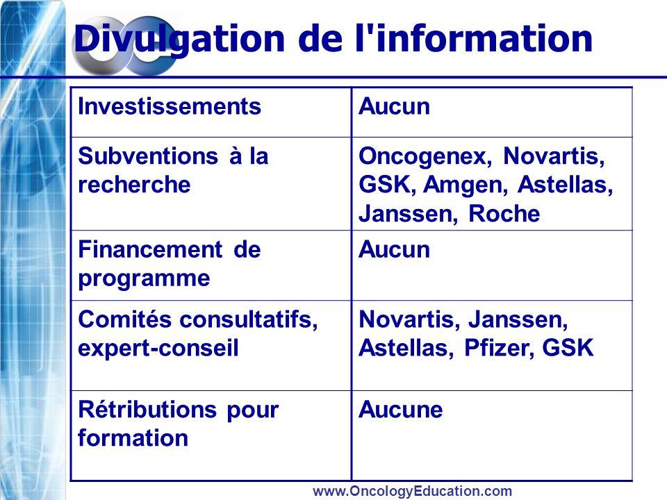 www.OncologyEducation.com Divulgation de l'information InvestissementsAucun Subventions à la recherche Oncogenex, Novartis, GSK, Amgen, Astellas, Jans