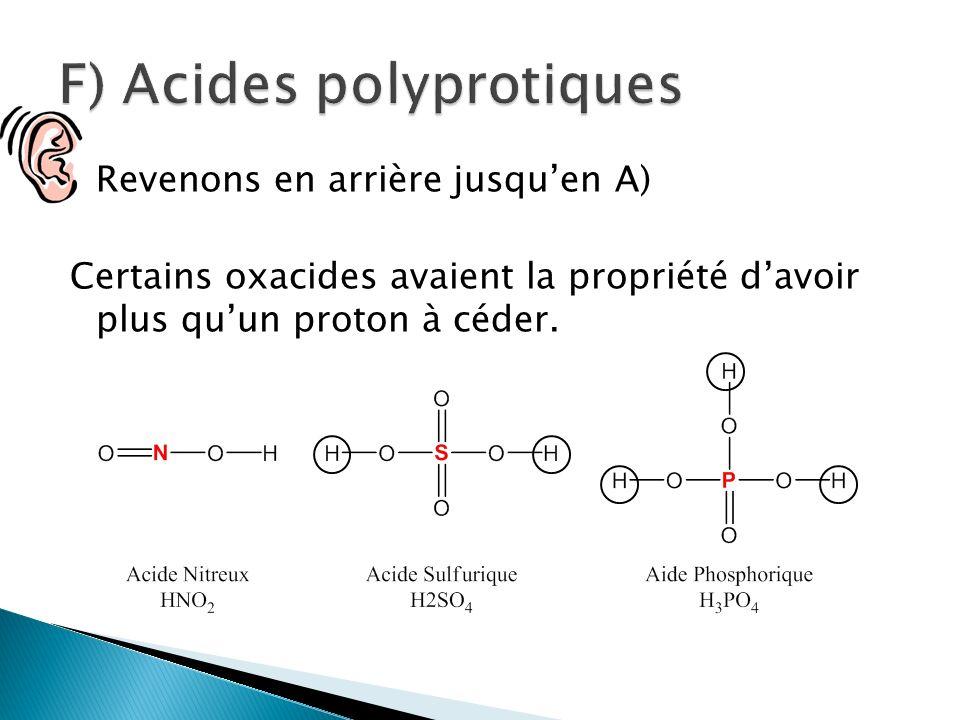Revenons en arrière jusquen A) Certains oxacides avaient la propriété davoir plus quun proton à céder.