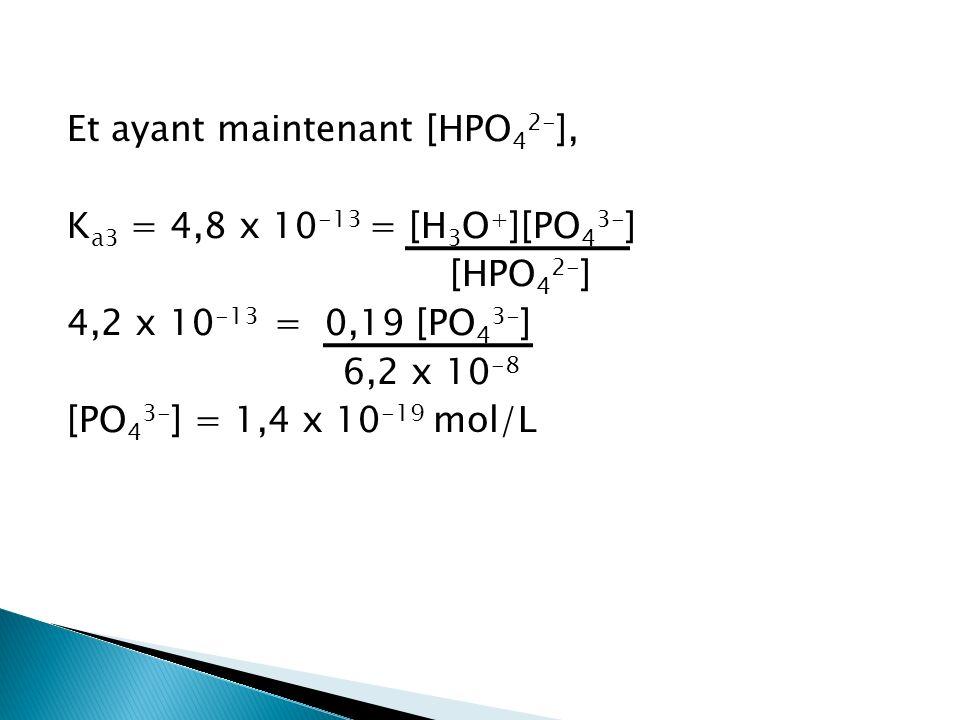 Et ayant maintenant [HPO 4 2- ], K a3 = 4,8 x 10 -13 = [H 3 O + ][PO 4 3- ] [HPO 4 2- ] 4,2 x 10 -13 = 0,19 [PO 4 3- ] 6,2 x 10 -8 [PO 4 3- ] = 1,4 x