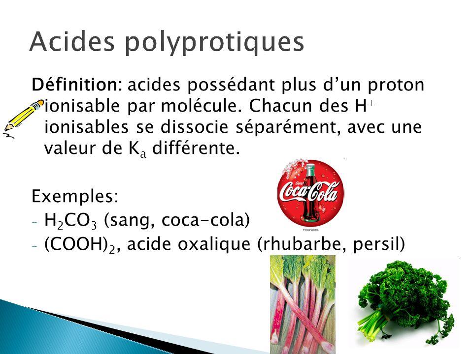 Définition: acides possédant plus dun proton ionisable par molécule. Chacun des H + ionisables se dissocie séparément, avec une valeur de K a différen