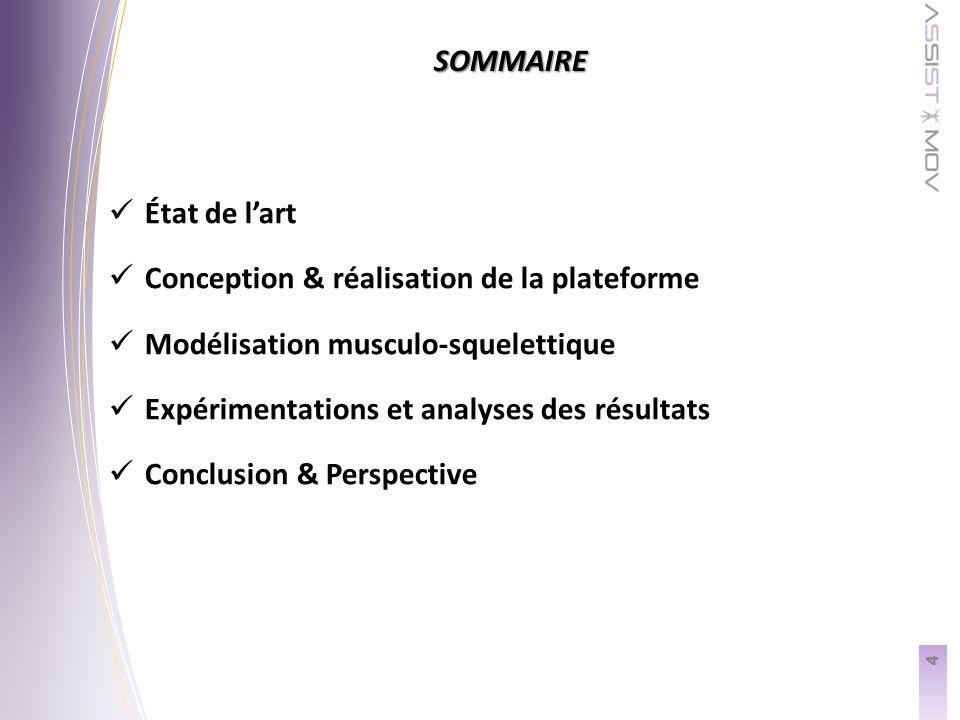 SOMMAIRE 4 État de lart Conception & réalisation de la plateforme Modélisation musculo-squelettique Expérimentations et analyses des résultats Conclusion & Perspective
