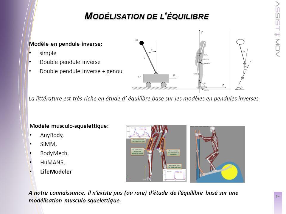 7 M ODÉLISATION DE L ÉQUILIBRE Modèle musculo-squelettique: AnyBody, SIMM, BodyMech, HuMANS, LifeModeler Modèle en pendule inverse: simple Double pendule inverse Double pendule inverse + genou La littérature est très riche en étude d équilibre base sur les modèles en pendules inverses A notre connaissance, il nexiste pas (ou rare) détude de léquilibre basé sur une modélisation musculo-squelettique.
