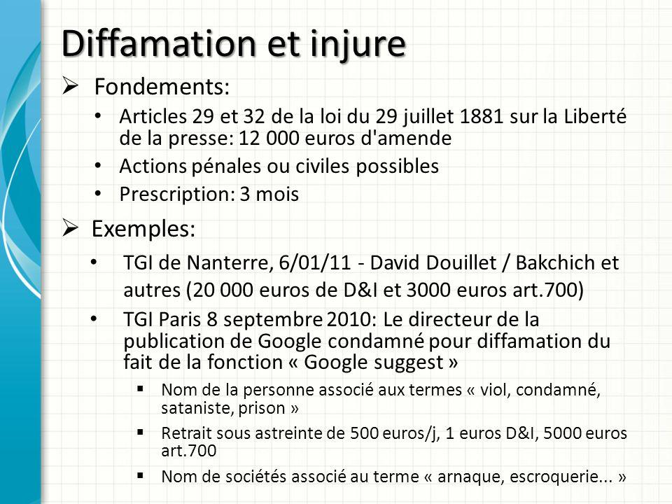 Diffamation et injure Fondements: Articles 29 et 32 de la loi du 29 juillet 1881 sur la Liberté de la presse: 12 000 euros d'amende Actions pénales ou
