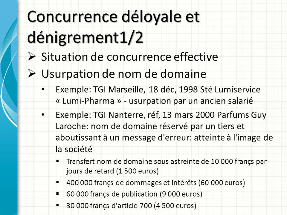 Concurrence déloyale et dénigrement1/2 Situation de concurrence effective Usurpation de nom de domaine Exemple: TGI Marseille, 18 déc, 1998 Sté Lumise
