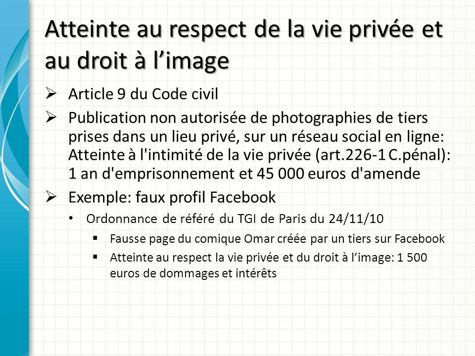 Atteinte au respect de la vie privée et au droit à limage Article 9 du Code civil Publication non autorisée de photographies de tiers prises dans un l
