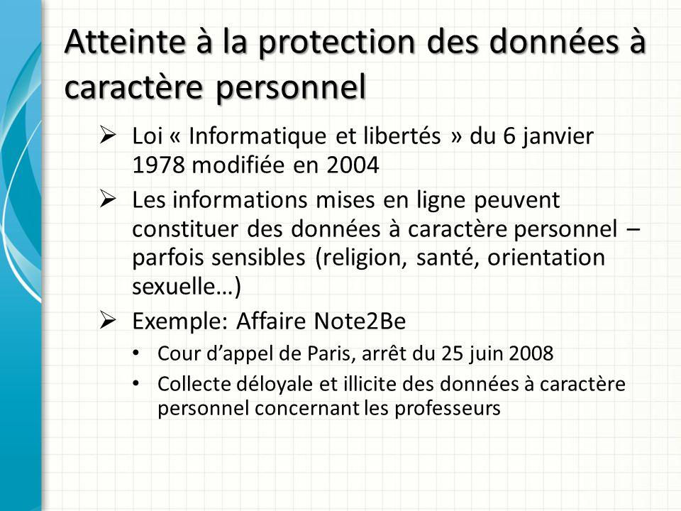 Atteinte à la protection des données à caractère personnel Loi « Informatique et libertés » du 6 janvier 1978 modifiée en 2004 Les informations mises