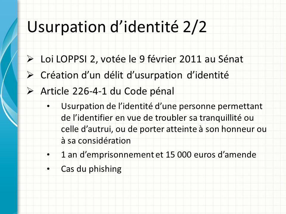 Usurpation didentité 2/2 Loi LOPPSI 2, votée le 9 février 2011 au Sénat Création dun délit dusurpation didentité Article 226-4-1 du Code pénal Usurpat