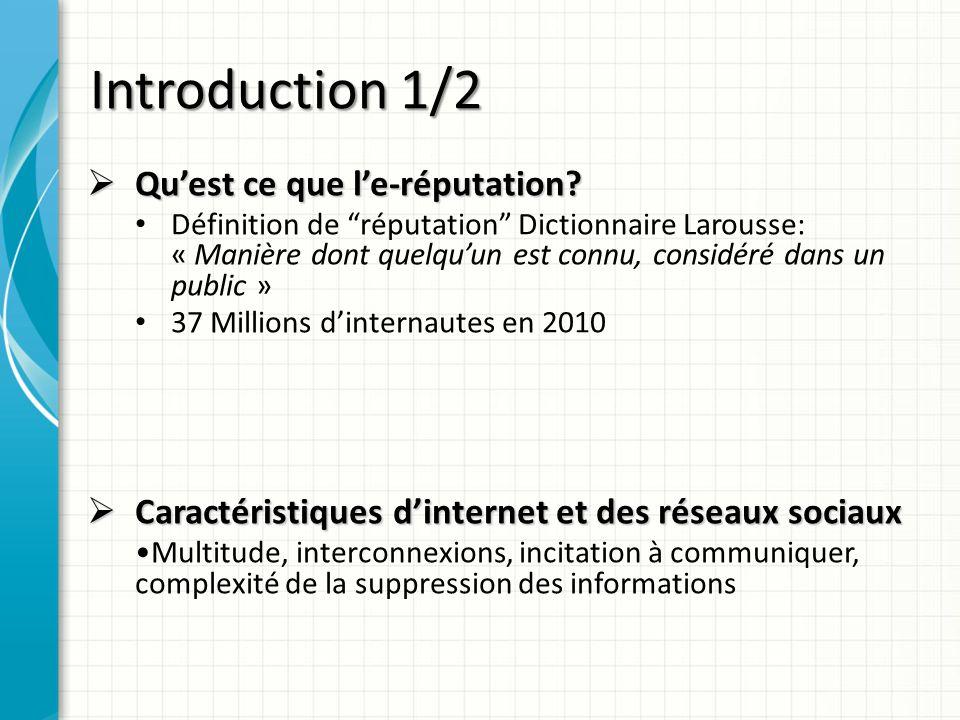 Introduction 1/2 Quest ce que le-réputation? Quest ce que le-réputation? Définition de réputation Dictionnaire Larousse: « Manière dont quelquun est c