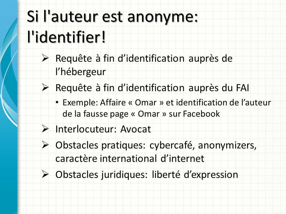 Si l'auteur est anonyme: l'identifier! Requête à fin didentification auprès de lhébergeur Requête à fin didentification auprès du FAI Exemple: Affaire