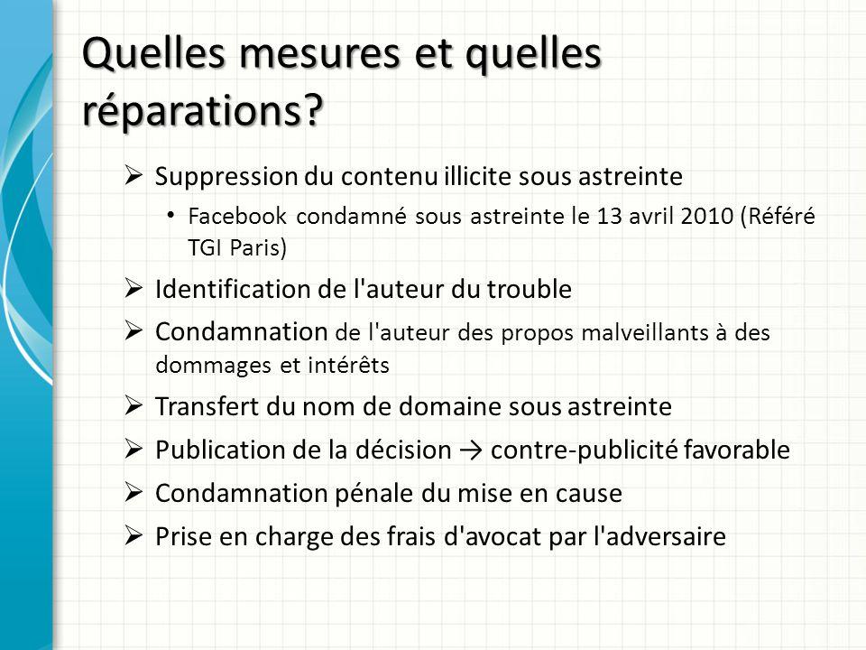 Quelles mesures et quelles réparations? Suppression du contenu illicite sous astreinte Facebook condamné sous astreinte le 13 avril 2010 (Référé TGI P