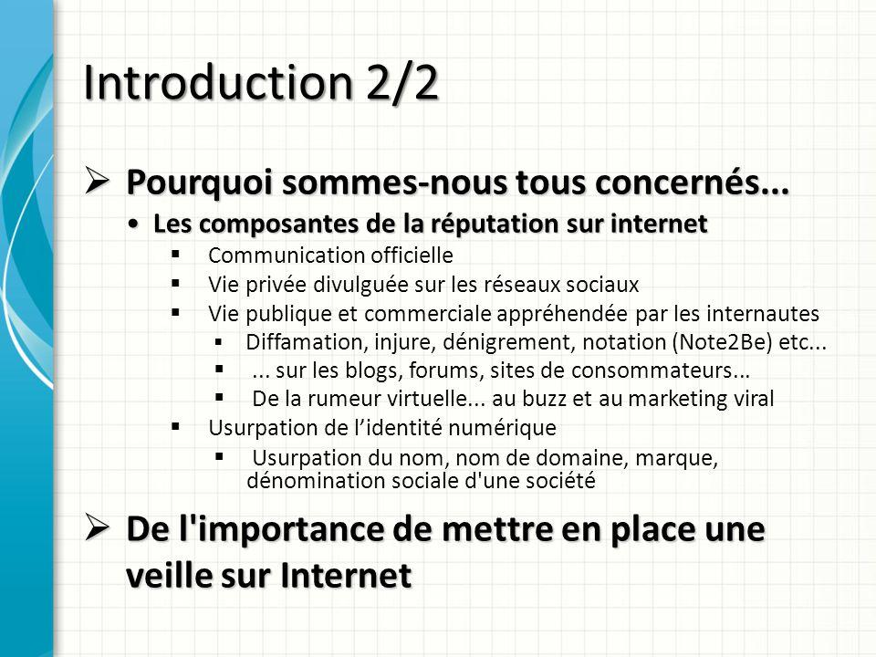 Introduction 2/2 Pourquoi sommes-nous tous concernés... Pourquoi sommes-nous tous concernés... Les composantes de la réputation sur internet Les compo