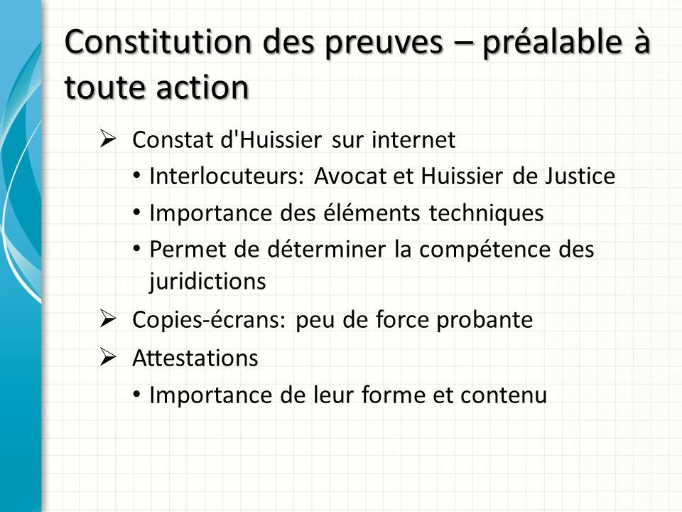 Constitution des preuves – préalable à toute action Constat d'Huissier sur internet Interlocuteurs: Avocat et Huissier de Justice Importance des éléme