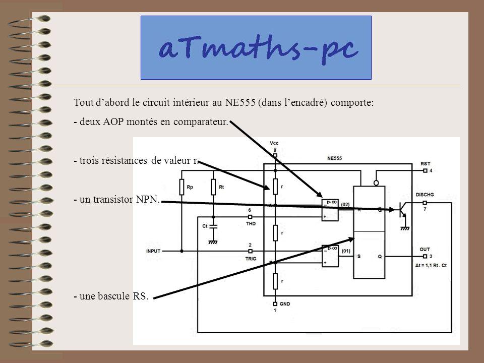 Tout dabord le circuit intérieur au NE555 (dans lencadré) comporte: - deux AOP montés en comparateur. - trois résistances de valeur r. - un transistor