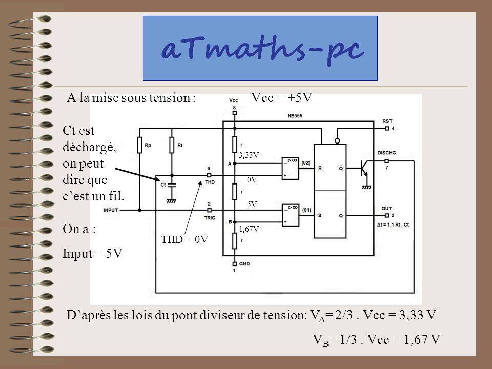 A la mise sous tension : Ct est déchargé, on peut dire que cest un fil. Daprès les lois du pont diviseur de tension: V A = 2/3. Vcc = 3,33 V V B = 1/3