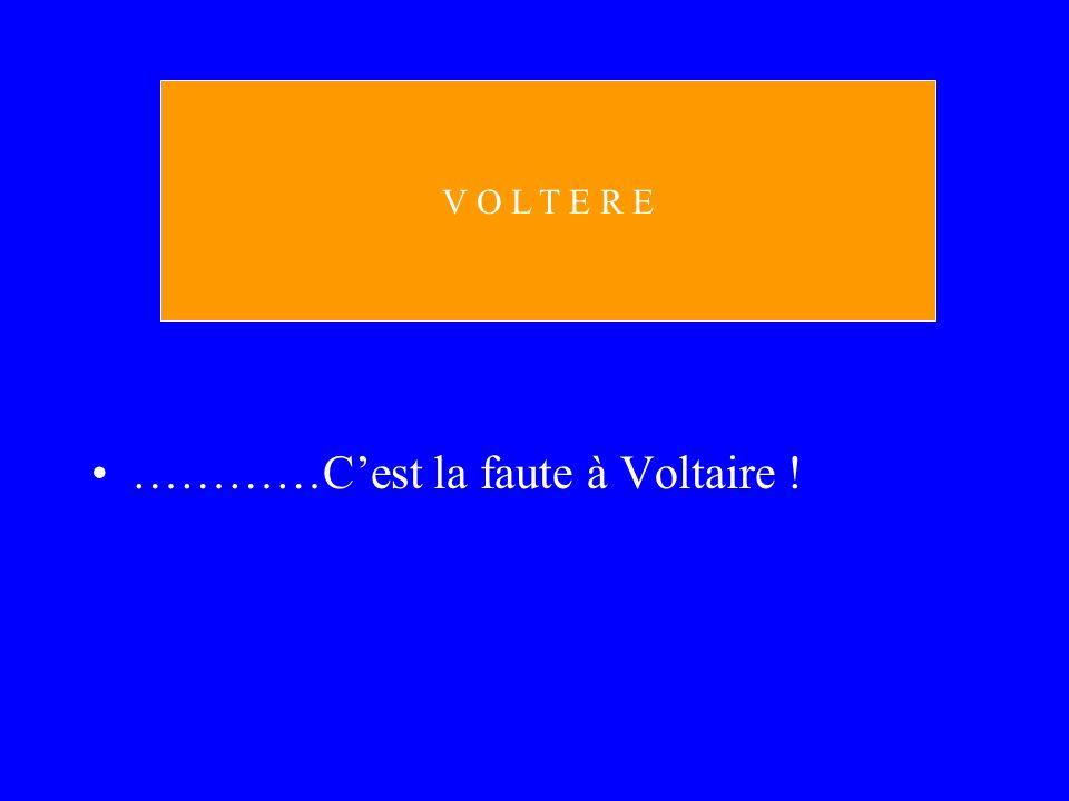 …………Cest la faute à Voltaire ! V O L T E R E
