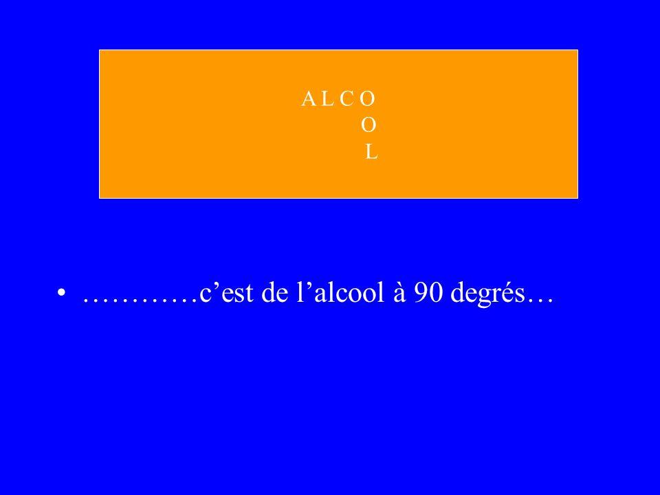 …………cest de lalcool à 90 degrés… A L C O O L
