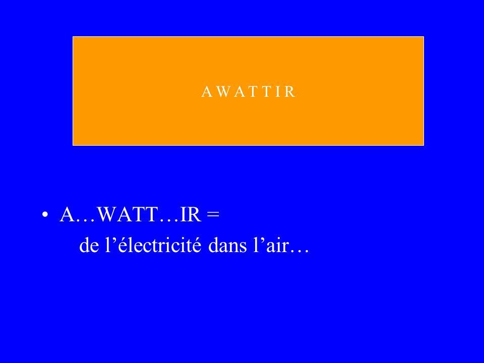 A…WATT…IR = de lélectricité dans lair… A W A T T I R