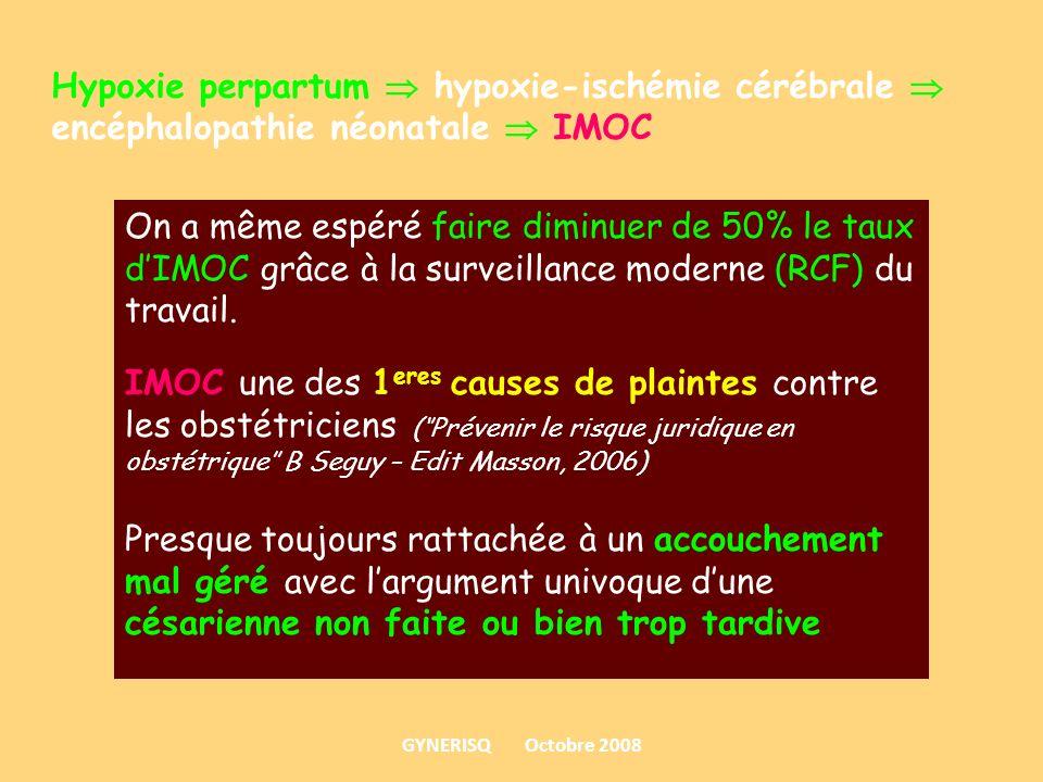 Hypoxie perpartum hypoxie-ischémie cérébrale encéphalopathie néonatale IMOC On a même espéré faire diminuer de 50% le taux dIMOC grâce à la surveillan