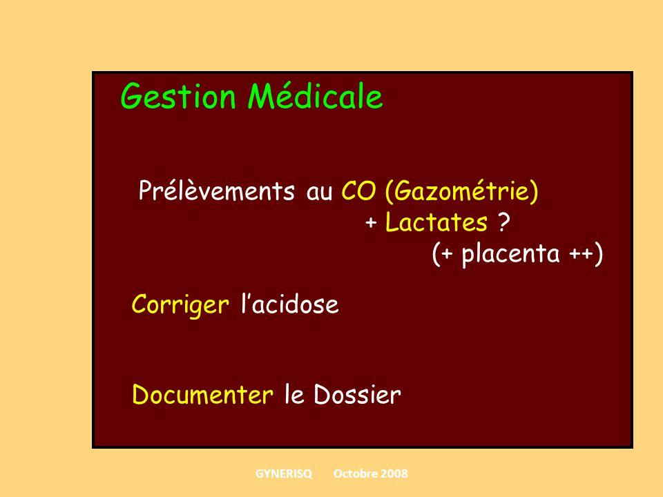 Gestion Médicale Prélèvements au CO (Gazométrie) + Lactates ? (+ placenta ++) Corriger lacidose Documenter le Dossier GYNERISQ Octobre 2008