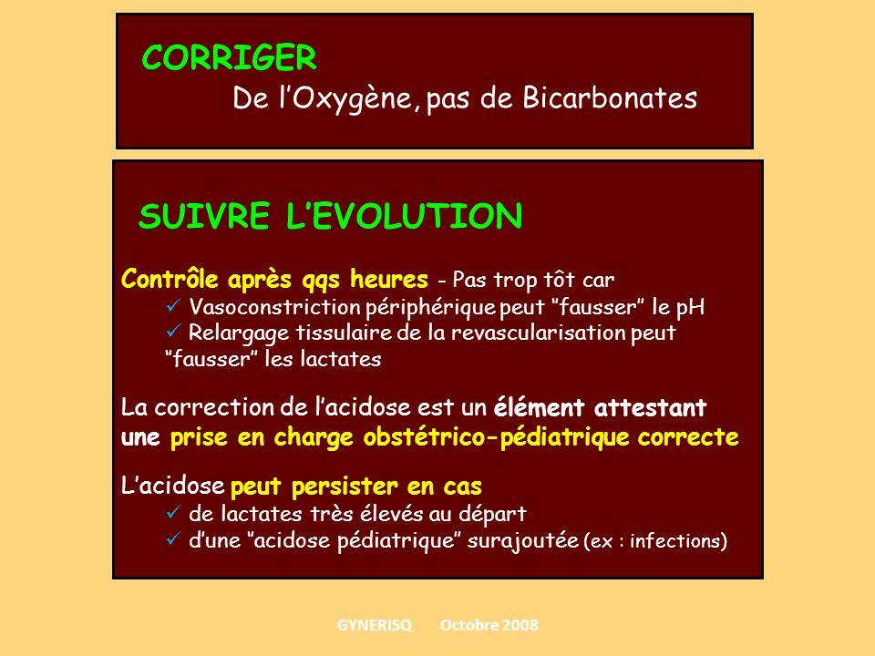 CORRIGER De lOxygène, pas de Bicarbonates SUIVRE LEVOLUTION Contrôle après qqs heures - Pas trop tôt car Vasoconstriction périphérique peut fausser le