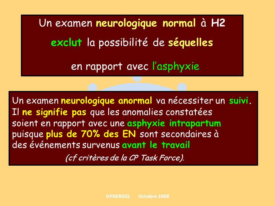 Un examen neurologique normal à H2 exclut la possibilité de séquelles en rapport avec lasphyxie Un examen neurologique anormal va nécessiter un suivi.