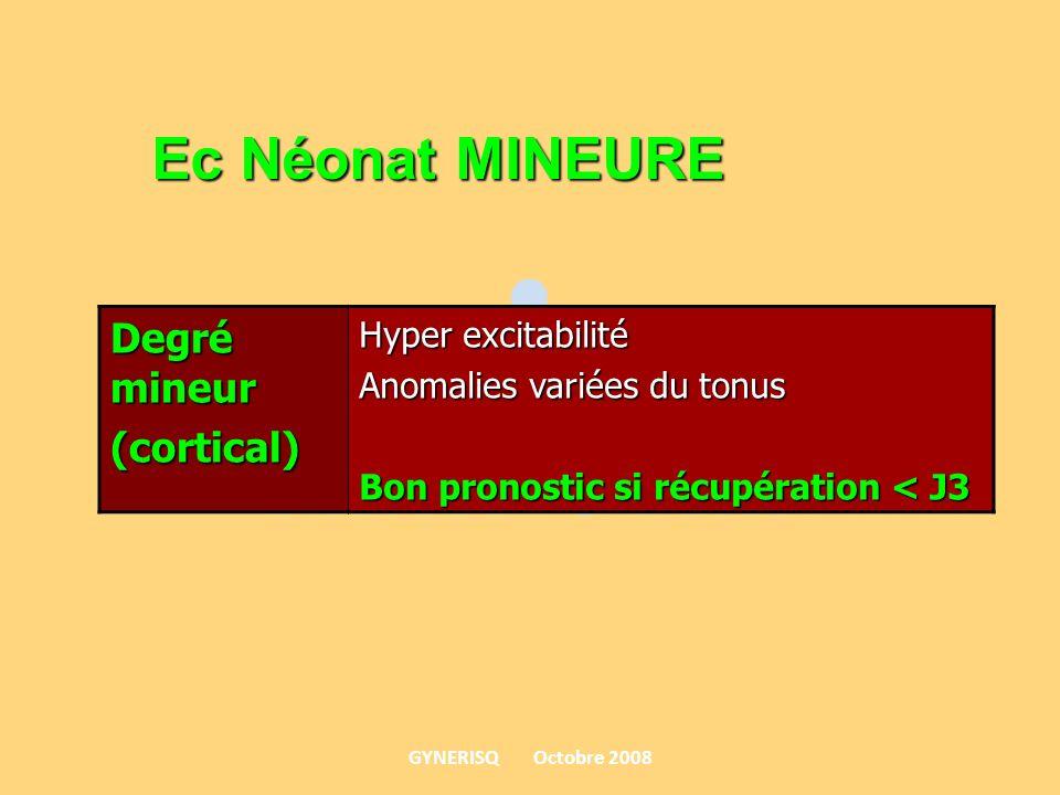 Degré mineur (cortical) Hyper excitabilité Anomalies variées du tonus Bon pronostic si récupération < J3 Ec Néonat MINEURE GYNERISQ Octobre 2008