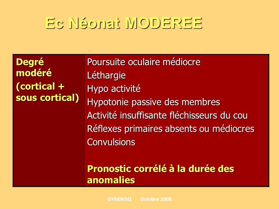 Degré modéré (cortical + sous cortical) Poursuite oculaire médiocre Léthargie Hypo activité Hypotonie passive des membres Activité insuffisante fléchi