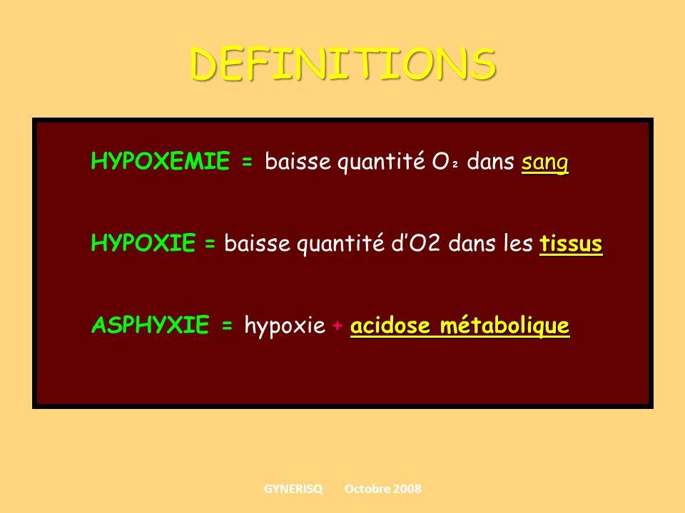 DEFINITIONS sang HYPOXEMIE = baisse quantité O ² dans sang tissus HYPOXIE = baisse quantité dO2 dans les tissus acidose métabolique ASPHYXIE = hypoxie