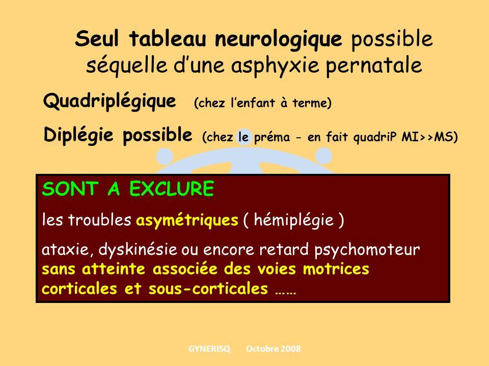 Seul tableau neurologique possible séquelle dune asphyxie pernatale Quadriplégique (chez lenfant à terme) Diplégie possible (chez le préma - en fait q