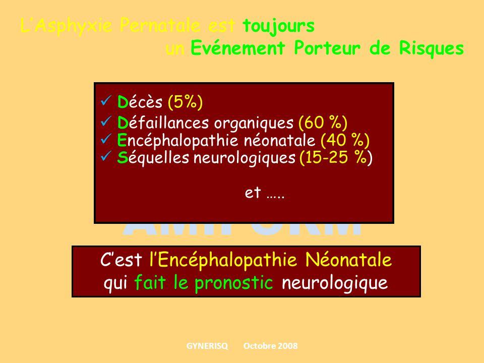 LAsphyxie Pernatale est toujours un Evénement Porteur de Risques Décès (5%) Défaillances organiques (60 %) Encéphalopathie néonatale (40 %) Séquelles