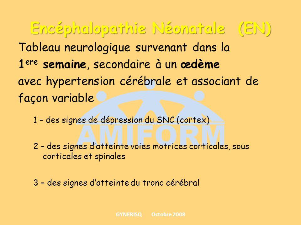 Encéphalopathie Néonatale (EN) Tableau neurologique survenant dans la 1 ere semaine, secondaire à un œdème avec hypertension cérébrale et associant de