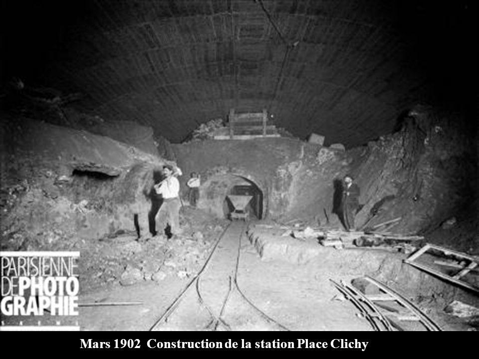 Mars 1902 Chantier de la station Place Clichy, coupée par laqueduc de ceinture